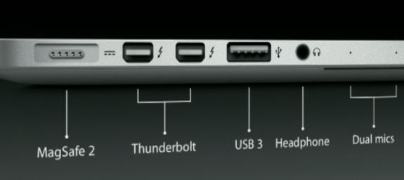 13-inch MacBook Pro with Retina Display ports
