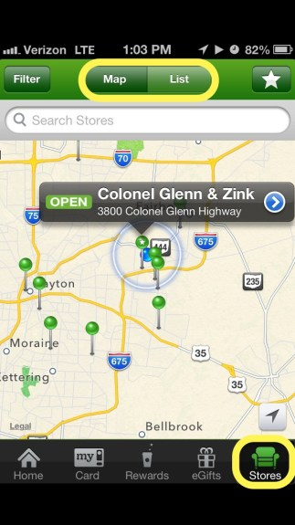 Starbucks stores on Map