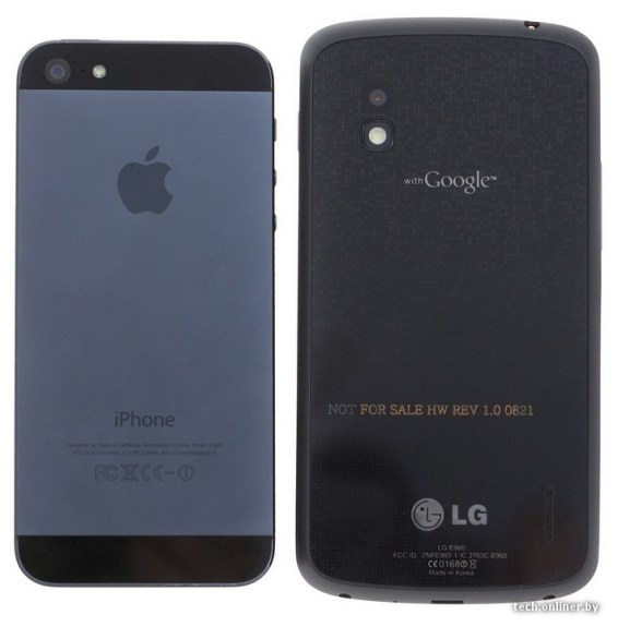 iPhone 5 LG Nexus 4 comparison back