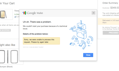 LG nexus 4 in google play error