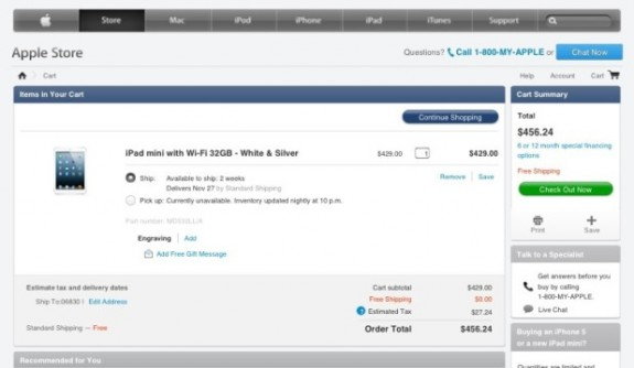 iPad mini reservation apple