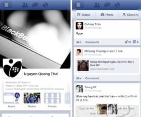 BlackBerry 10 leak Facebook