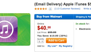 Walmart iTunes eGift Card