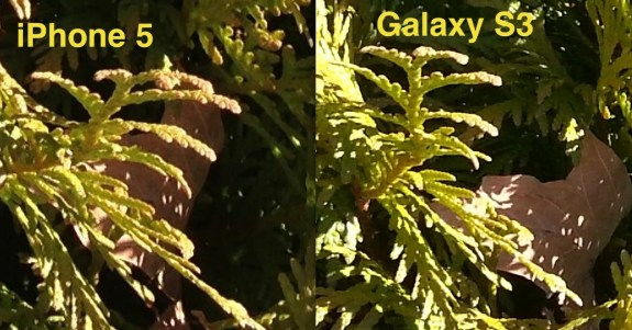 comparison zoom between galaxy s3 and iphone 5