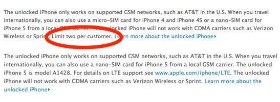 iPhone 5 order limit