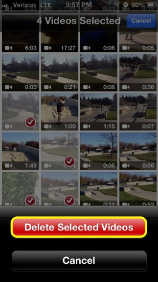 Delete Selected Videos