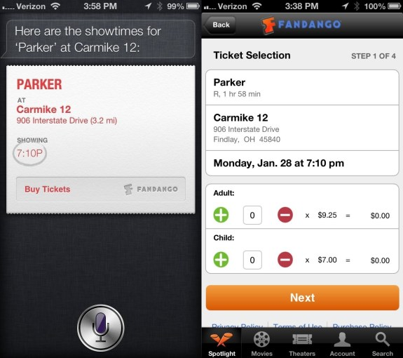 How to buy movie tickets with Siri