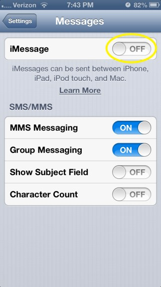 Slide iMessage ON