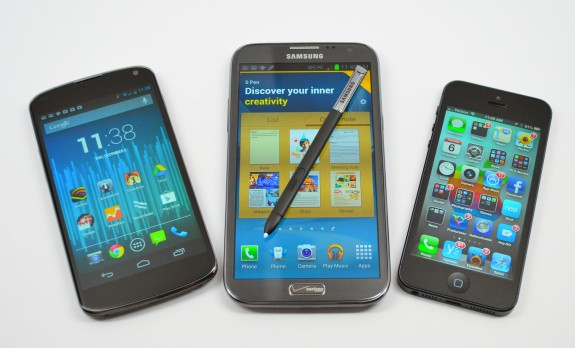 iPhone 5 Galaxy Note 2 Nexus 4 Screen size