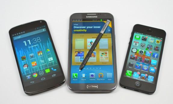 iPhone 5 Galaxy Note 2 Nexus 4 Screen size