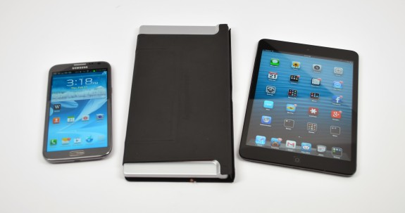 The Galaxy Note 2 vs. the iPad mini, showing size advantages.