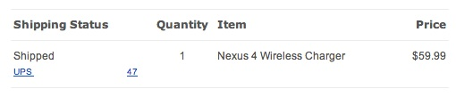 Nexus 4 wireless charger shipped