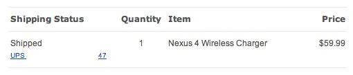 Nexus 4 wireless charger shipped