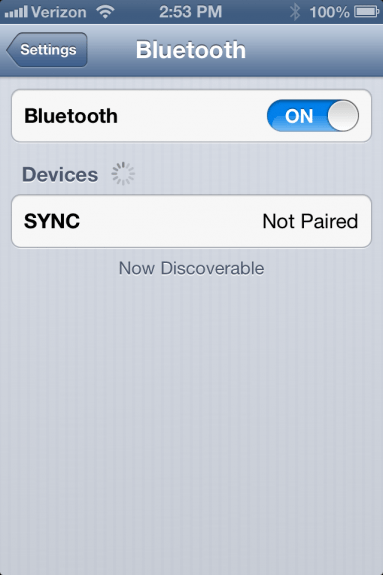 Sync on Bluetooth iOS Menu