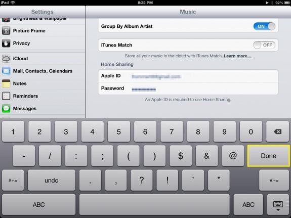 Select Done (iPad)