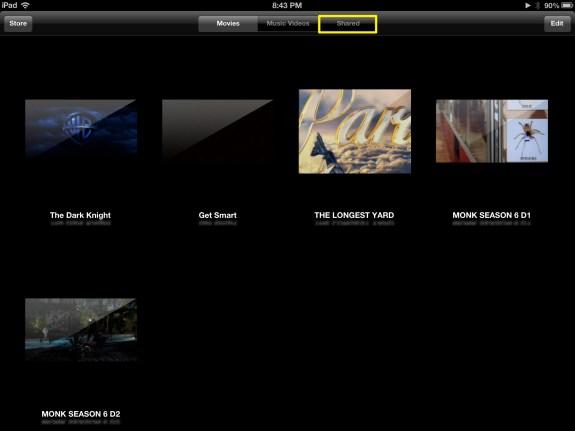 Tap Shared Videos (iPad)