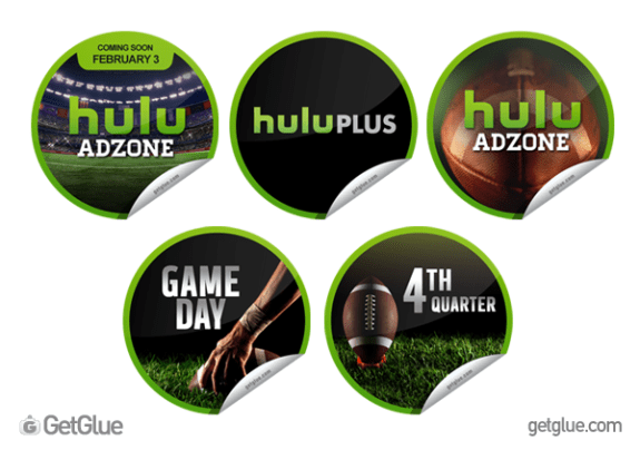 hulu getglue super bowl stickers