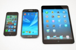 The Galaxy Note 2 in between the iPhone 5 and iPad mini.