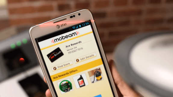 The Samsung Galaxy S4 features Mobeam technology that lets it work with barcode readers at almost any retailer or venue.