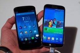 The Nexus 4 next to the Galaxy S4.