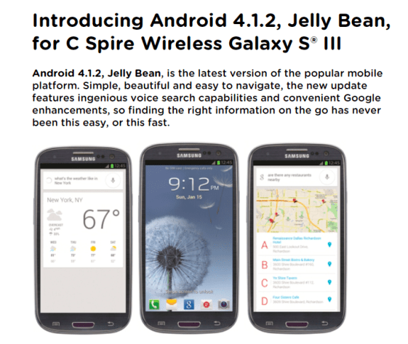 The C Spire Android 4.1.2 update has arrived without the full Premium Suite.