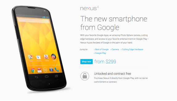The Nexus 4 features a cheaper unlocked price.