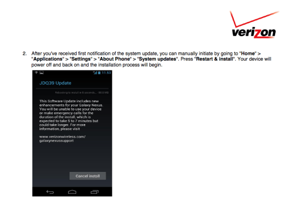 The Verizon Galaxy Nexus Android 4.2 Jelly Bean update is available right now.