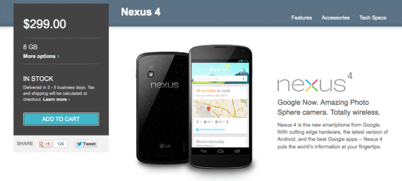 The Nexus 4 8GB is now listed as being delivered in 3-5 days.