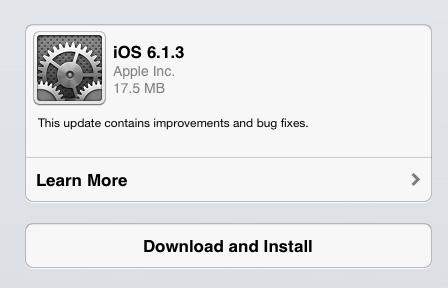 IOS 6.1.3 on the iPad mini review.