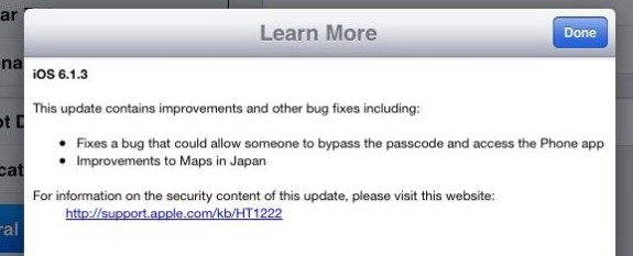 iOS 6.1.3 update release notes.