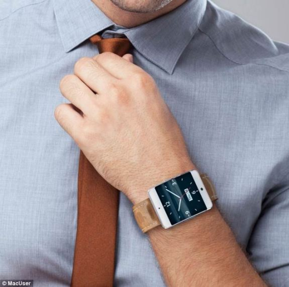 How an iWatch might look on your wrist, with a classic leather strap.