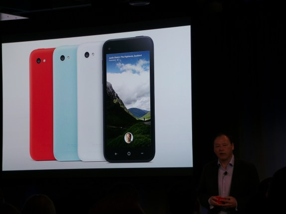 HTC CEO Peter Chou talks HTC First at Facebook event; image captured with Samsung Galaxy Camera.