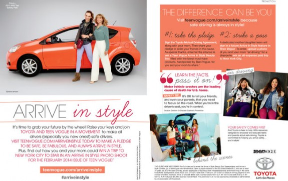 Arrive in Style Automobile Ad in Teen Vogue