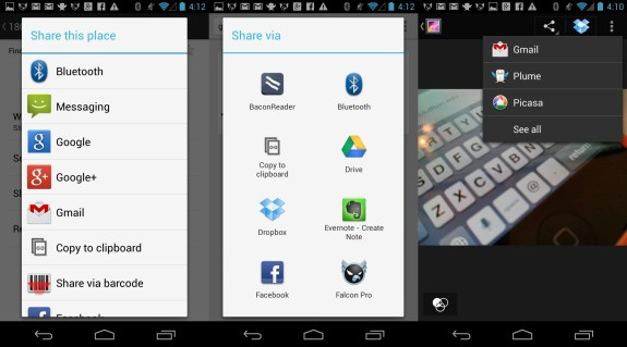 Three sharing options in Android.