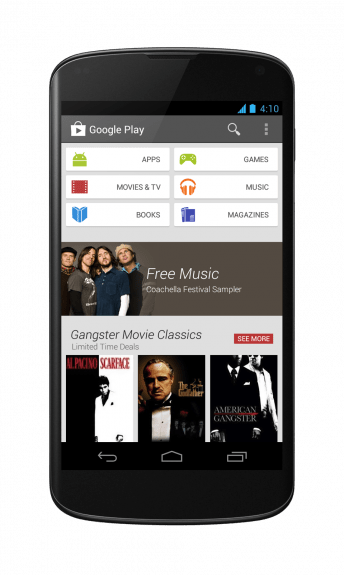 Google Play Store 4.0 running on the Nexus 4.