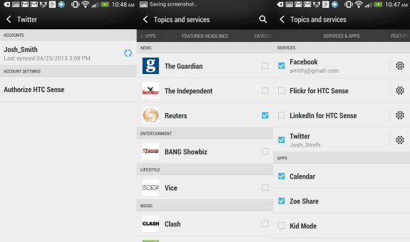 HTC One Setup - Customize HTC BlinkFeed.