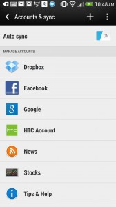 HTC One setup - Add accounts for easier sharing.