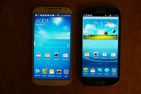 White Galaxy S4 left; Pebble Blue Galaxy S3 right