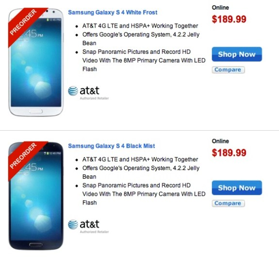 The first Samsung Galaxy S4 deals arrive ahead of release thanks to Walmart.