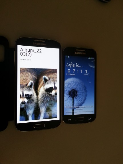 The supposed Galaxy S4 Mini next to the Galaxy S4.