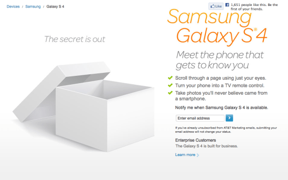 AT&T has revealed a Galaxy S4 pre-order date and price, but nothing else.
