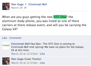 Cincinnati Bell will get the HTC One as well.
