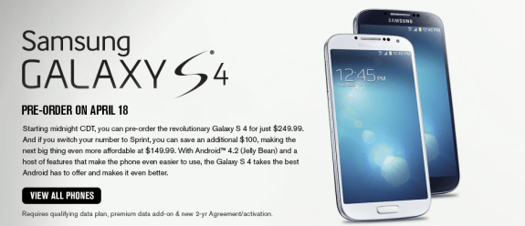 Sprint will release the Galaxy S4 on April 27th.