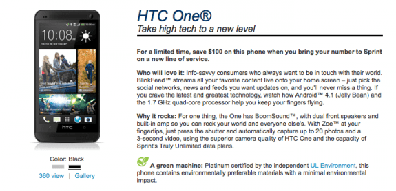 The black Sprint HTC One is now available.