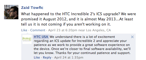 HTC has left the door open for a Droid Incredible 2 ICS update.