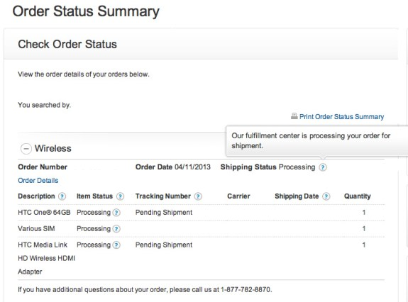 Some AT&T HTC One pre-orders are still processing.