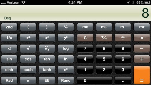 The iPhone 5 holds a scientific calculator when swiveled to landscape.