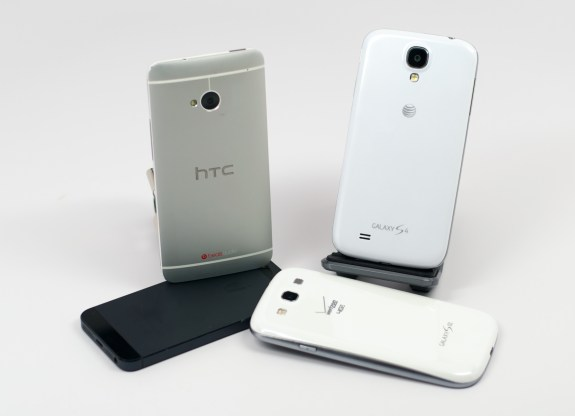 Samsung Galaxy S4 and HTC One and iPHone