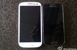 The Samsung Galaxy S4 (left) vs. Galaxy S4 mini (right).