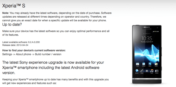 Jelly Bean has appeared on the Sony Xperia S website.